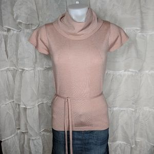 BCBG Dusty Mauve Short Sleeve Belted Sweater Sz M